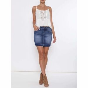 Kancan   Frayed Denim Skirt